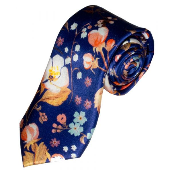Liberty Print 'Heidi' Design in Blue Silk Tie