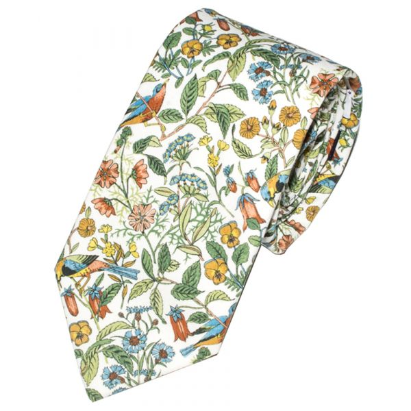 Liberty Print 'Catesby' Design in White Cotton Tie