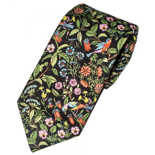 Liberty Print 'Catesby' Design in Black Cotton Tie