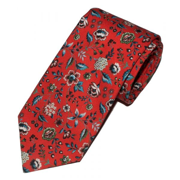 Liberty Print 'Rousseau' Design in Red Cotton Tie