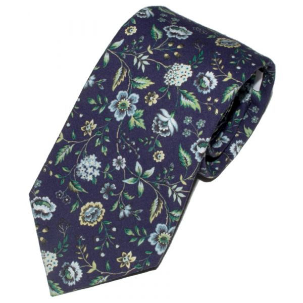 Liberty Print 'Rousseau' Design in Blue Cotton Tie
