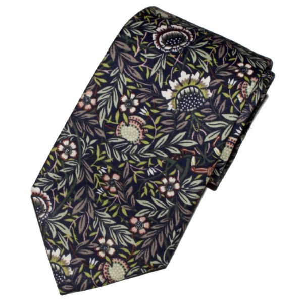 Liberty Print 'Peach Porter' Design in Blue Cotton Tie