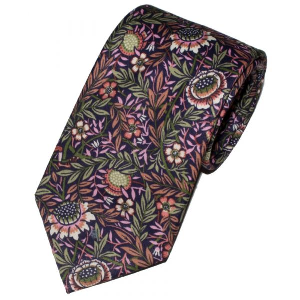 Made with Liberty Fabric Peach Porter Design on Pink Cotton Tie