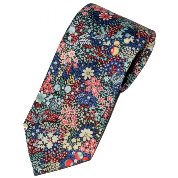 Liberty Print 'Elderberry' Design in Red Cotton Tie