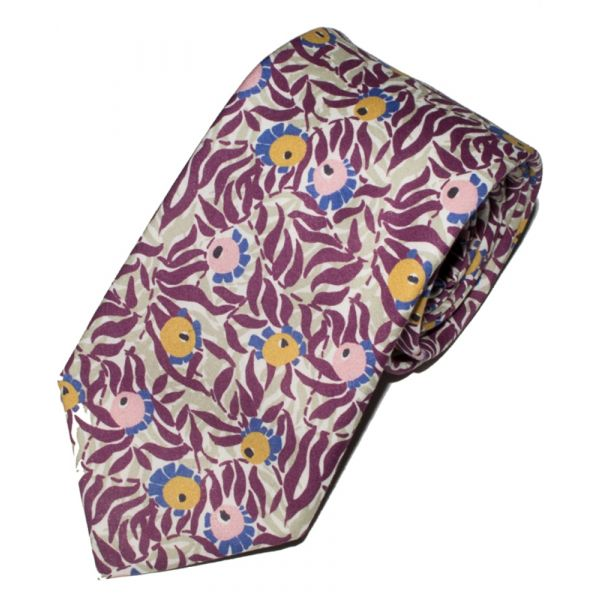 Liberty Print 'Huckleberry' Design in Plum Cotton Tie