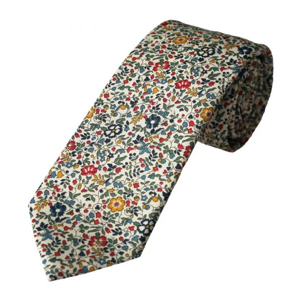 Liberty Print Fabric 'Katie & Millie' Design in Red Cotton Tie