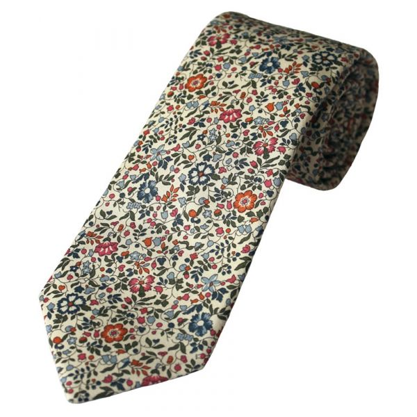 Liberty Print 'Katie & Millie' Design in Pink Cotton Tie