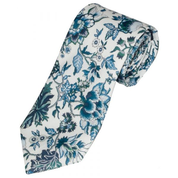 Liberty Print 'Christelle' Design in Blue Cotton Tie