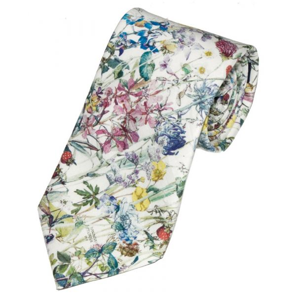 Liberty Print Wild Flower Design in Blue Cotton Tie