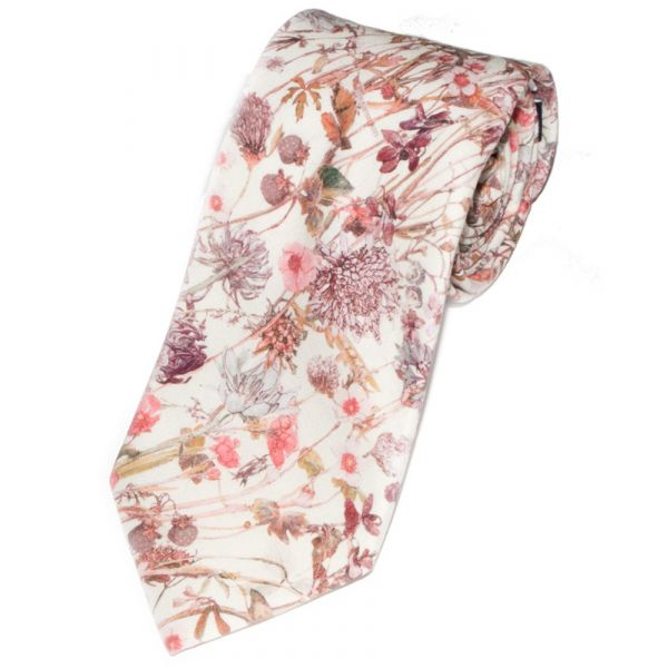 Made with Liberty Fabric Wild Flower Design in Pink Cotton Tie