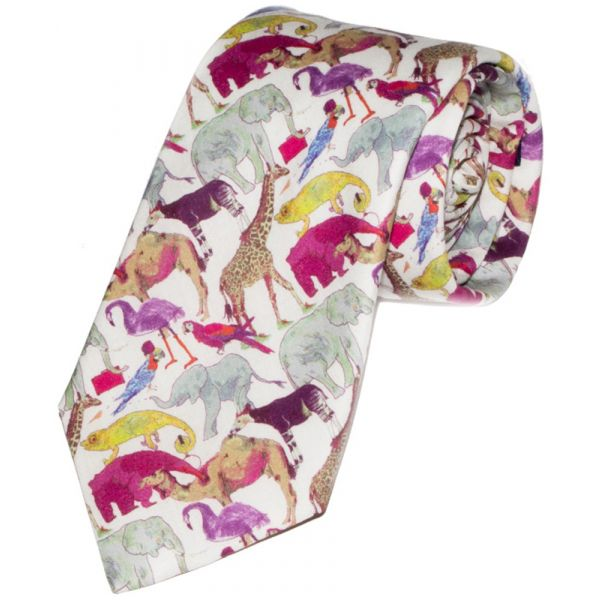 Liberty Print Fabric Queue for the Zoo Design in Pink Cotton Tie