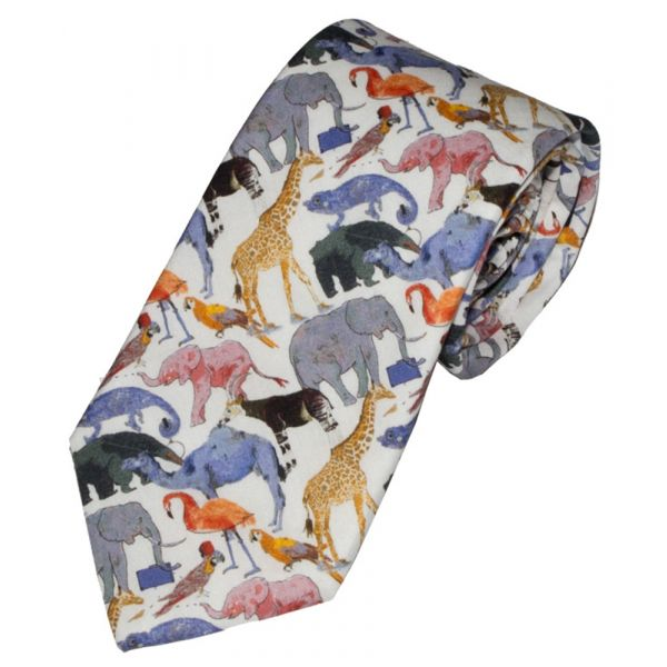 Liberty Print Queue for the Zoo Design in Blue Cotton Tie