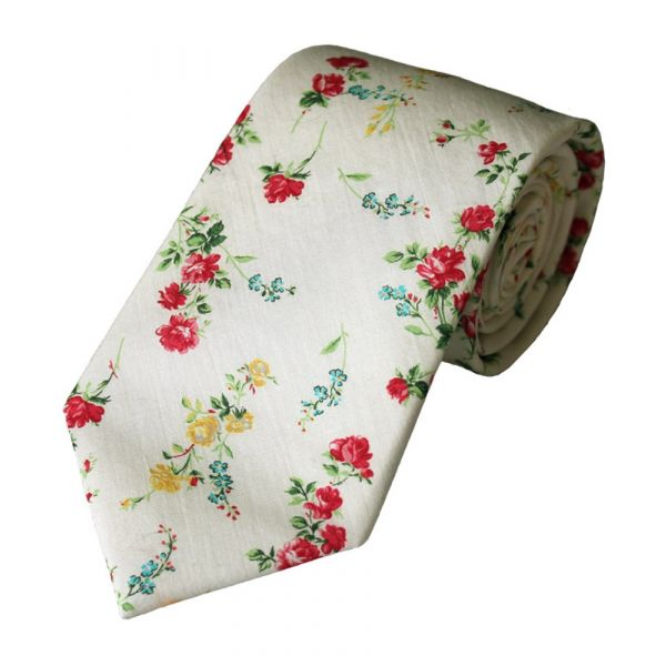 Liberty Print 'Elizabeth' Design in Ivory Cotton Tie