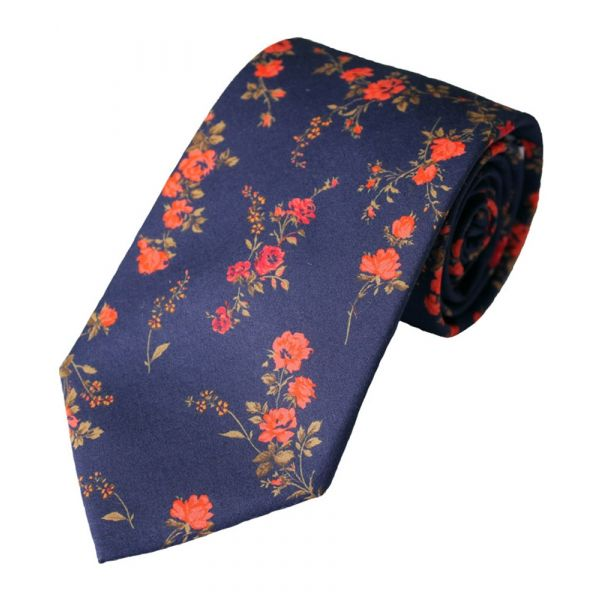 Liberty Print Fabric 'Elizabeth' Design in Navy Cotton Tie