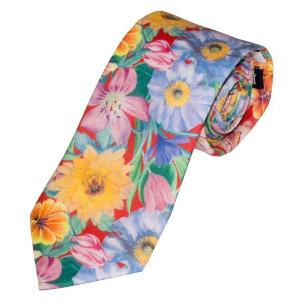 Liberty Print 'Meadow Melody' Design in Red Cotton Tie