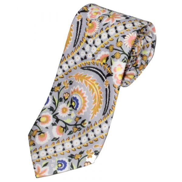 Liberty Print 'Von Trapp' Design in Grey Cotton Tie
