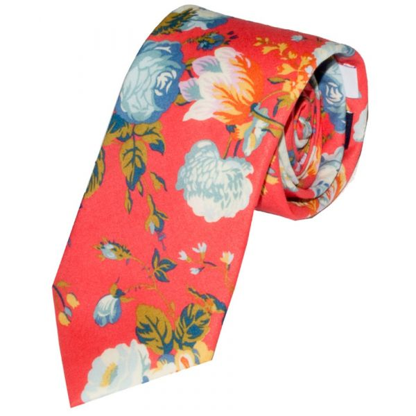 Liberty Print 'Magical Bouquet' Design in Red Cotton Tie