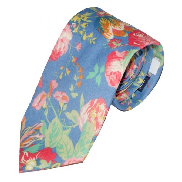 Liberty Print 'Magical Bouquet' Design in Blue Cotton Tie