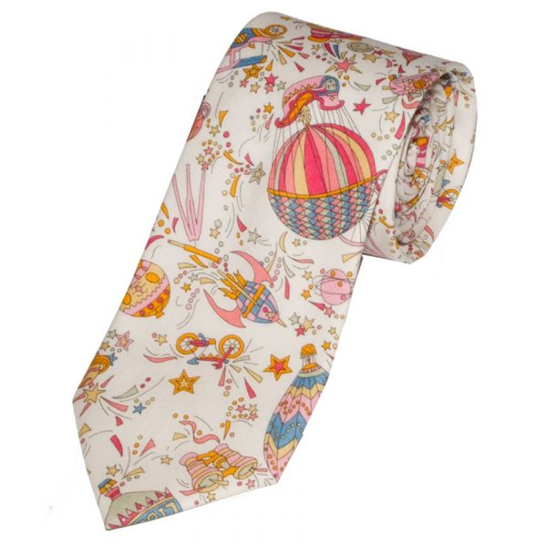 Liberty Print 'Sky High' Design in Pink Cotton Tie