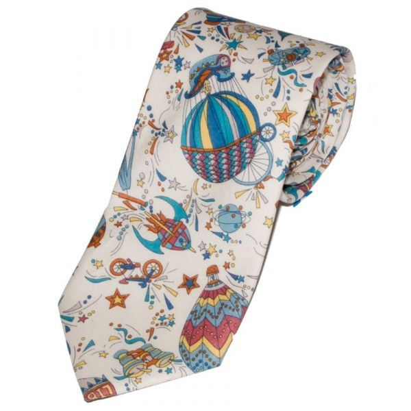 Liberty Print 'Sky High' Design in Blue Cotton Tie