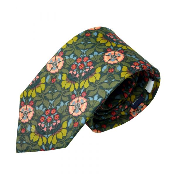 Liberty Print Fabric Cotton Tie - Persephone in Green