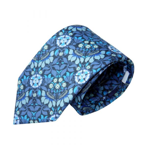 Liberty Cotton Tie - Persephone in Blue