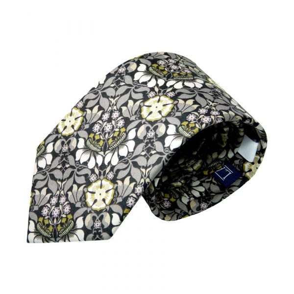 Liberty Cotton Tie - Persephone in Grey