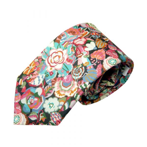 Made with Liberty Fabric Cotton Tie - Gatesby Garden in Pink
