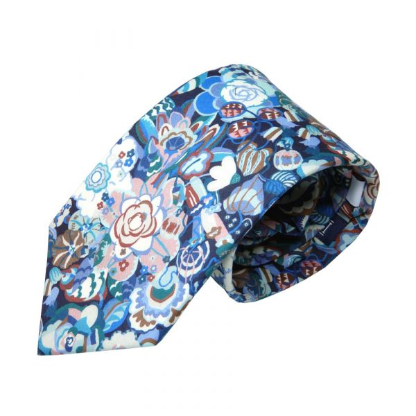 Liberty Cotton Tie - Gatesby Garden in Blue