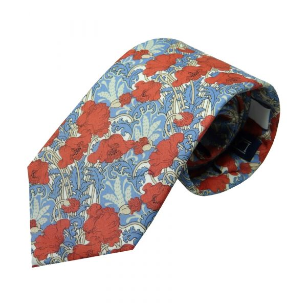 Liberty Cotton Tie - Clementina Red Poppies
