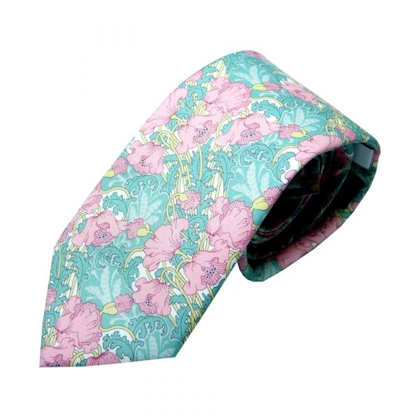 Liberty Cotton Tie - Clementina Pink Poppies