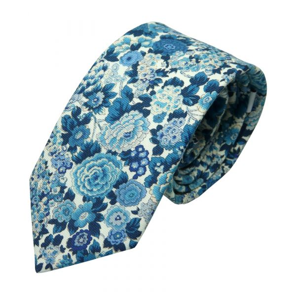 Made with Liberty Fabric Linen Cotton Tie - Blue Elysian Day Made with Liberty Fabric Tie