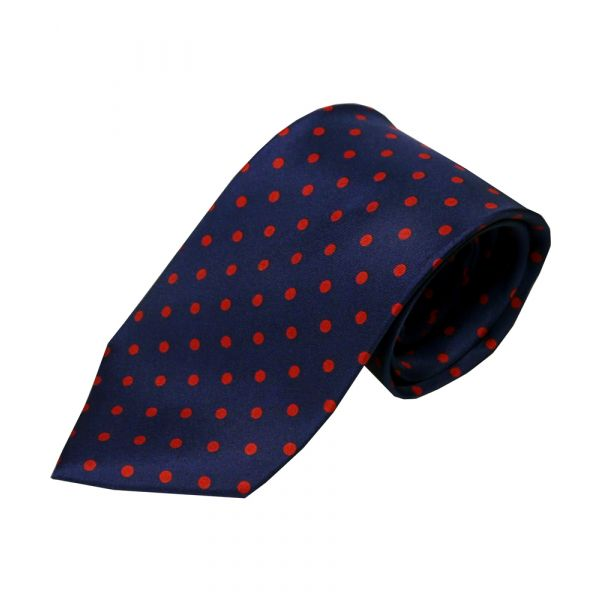 Navy with red polka dot silk tie