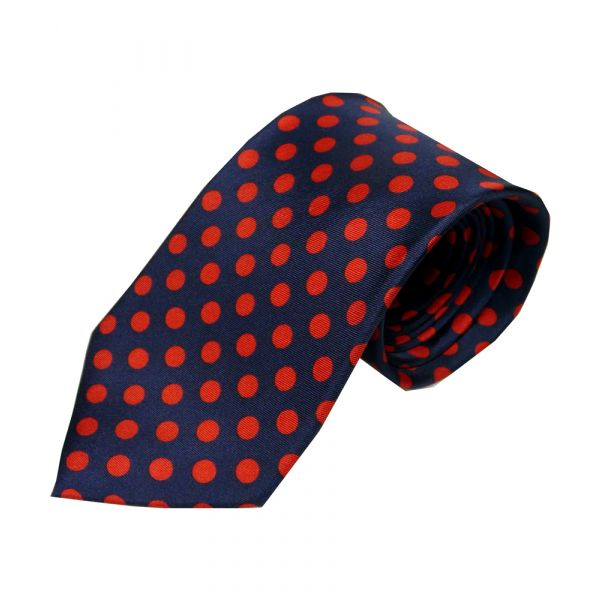 Navy with medium red spots tie
