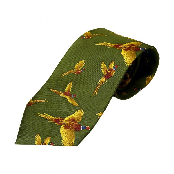 Green Pheasant design silk tie