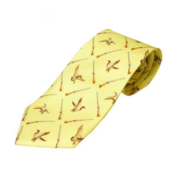 Yellow Ducks and Guns Tie
