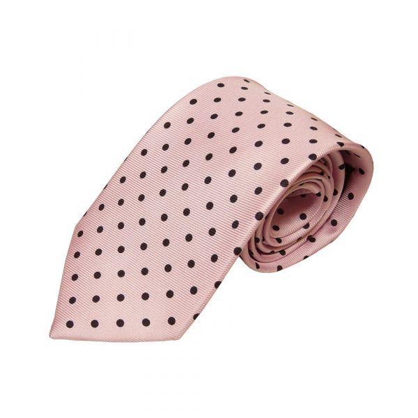 Pink With Black Polka Dots Silk Tie