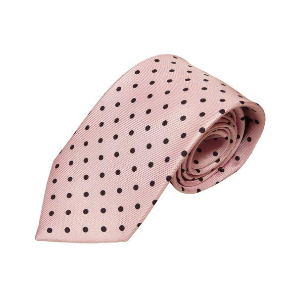 Pink With Black Polka Dots Silk Tie