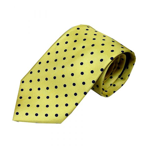 Yellow with black polka dot printed silk tie