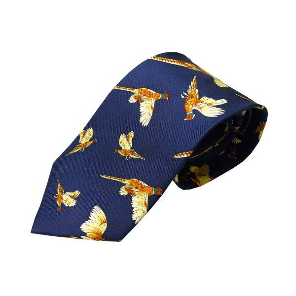 Blue Pheasant Printed Silk Tie