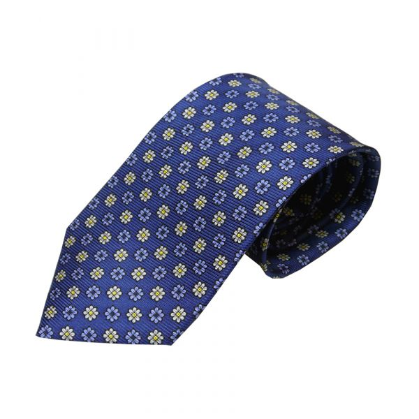 Blue and White Neat Flowers Printed Silk Tie