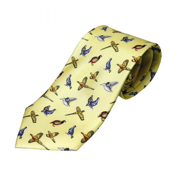 Cream Mixed Game Birds Printed Silk Tie