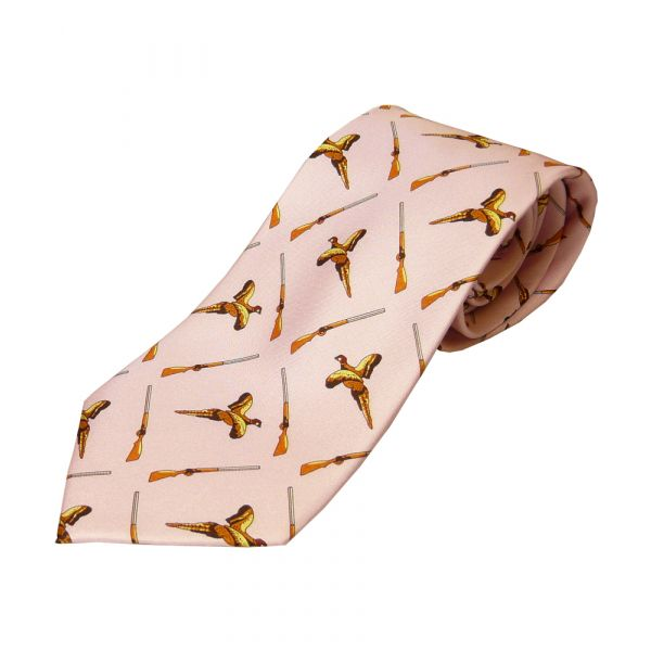 PinkPheasant and Shotguns Printed Silk Tie