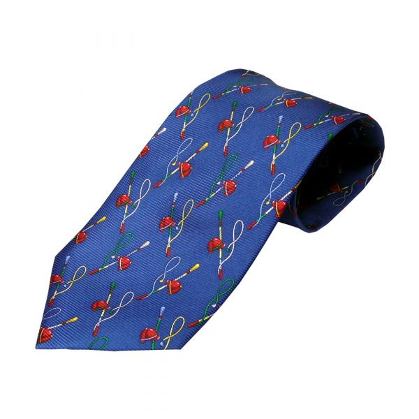 Blue Riding Hat and Crop printed Silk Tie