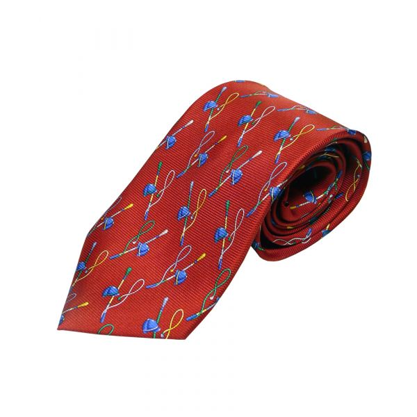 Red Riding hat and Crop Printed Silk Tie