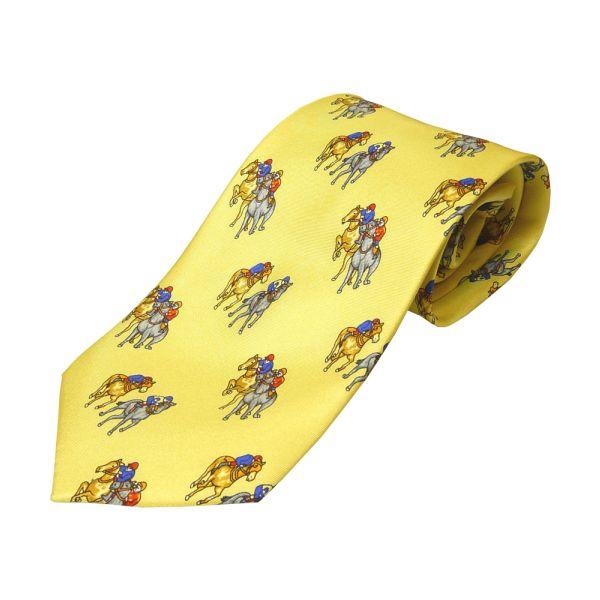 Gold Horse Racing Printed Silk Tie
