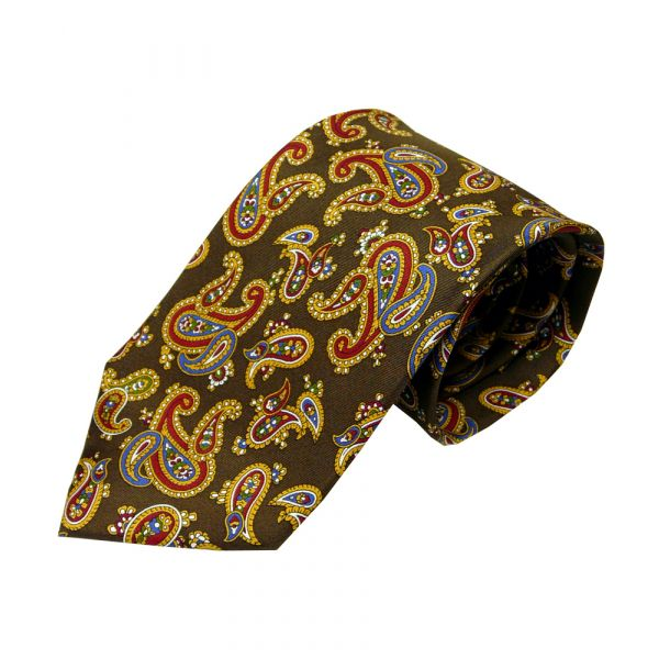 Brown Printed Silk Large Paisley Tie