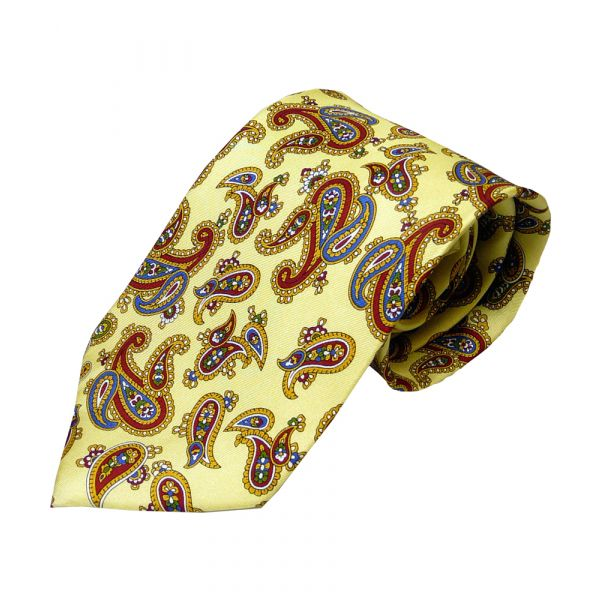 Cream Printed Silk Large Paisley Tie