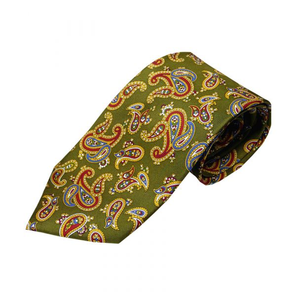 Dark Green Printed Silk Large Paisley Tie
