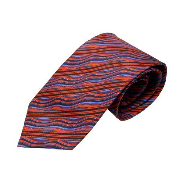 Red and Blue Wavey Diagonal Printed Silk Tie